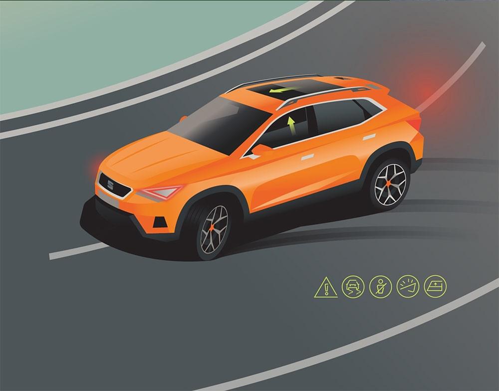 SEAT Ateca 2020 Assistanssystemet Pre-Crash--