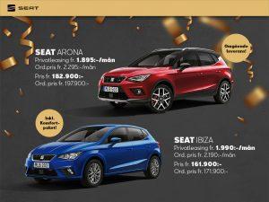 Seat Arona 1.895 kr/mån och Ibiza 1.990 kr/mån Omgående leverans