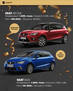 Seat Arona 1.895 kr/mån och Ibiza 1.990 kr/mån