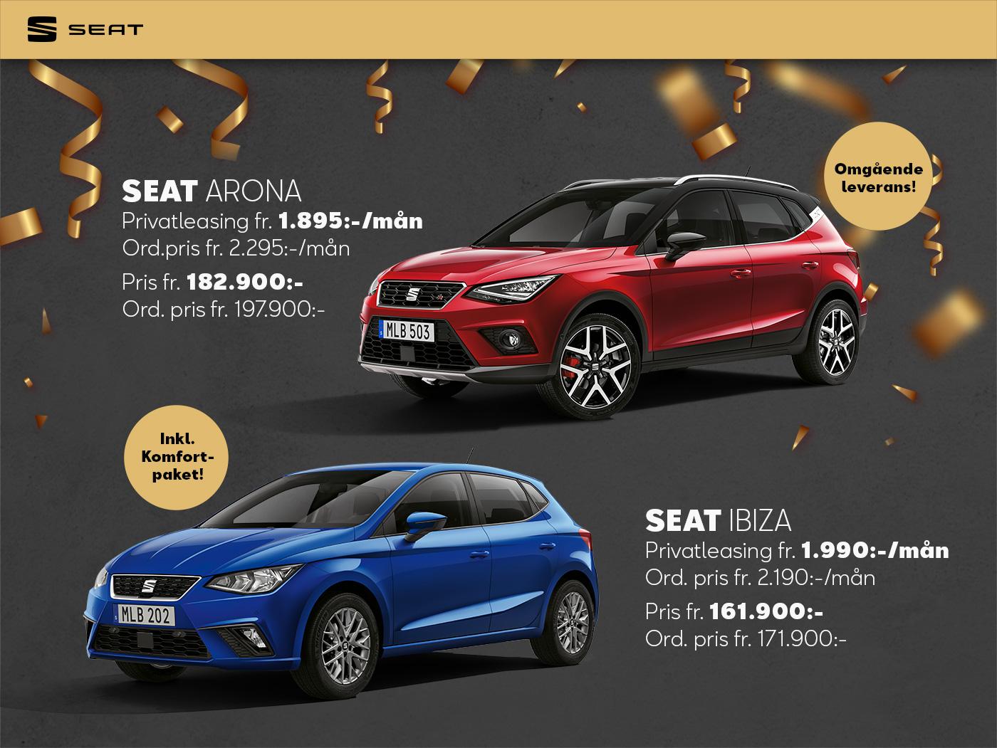 Seat Arona 1.895 kr och Ibiza 1.990 kr
